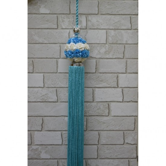 Decorative tassel - Accessory for curtains with flowers in blue and white