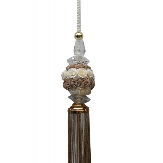 Decorative tassel - Accessory for curtains with flowers in brown and white