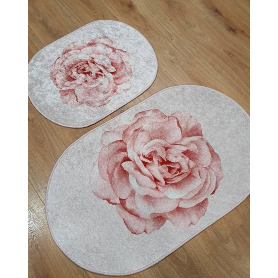Bath mats set - set of 2 mats for bathroom in pink with rose