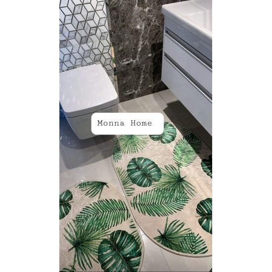 90/60 cm Bath mat with palm leaves