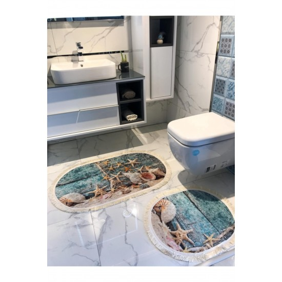 Bath mats set - set of 2 mats for bathroom - nautical theme