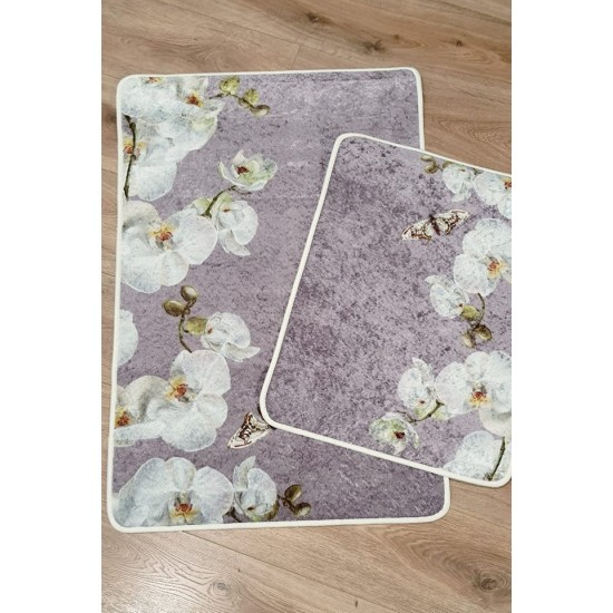 Bath mats set - set of 2 mats for bathroom with orchids