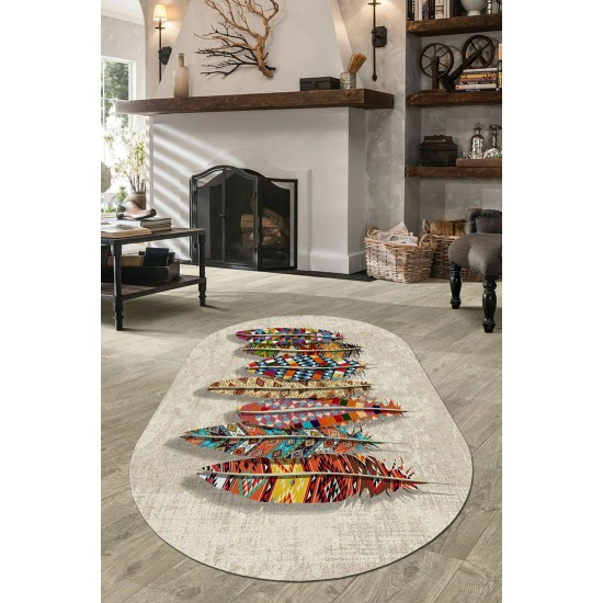 Oval shaped rug in BOHO STYLE - FEATHERS