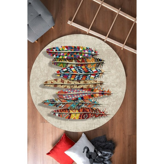 Round shaped rug in BOHO STYLE - FEATHERS