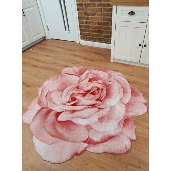 CARPET in the shape of a rose in pink