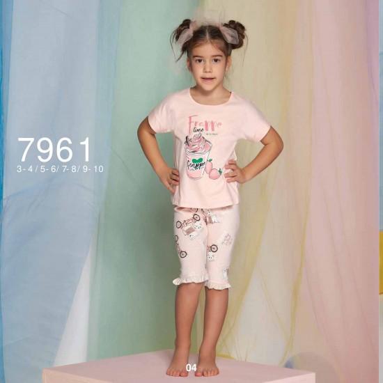 Summer two-piece kids pajamas set for girls