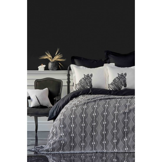 KARACA HOME - Luxury double bed set of cotton satin with jacquard blanket, 100%cotton