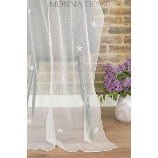 White stars sheer curtain fabric